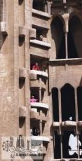 Das noch unvollendete Innere der Fassade der Geburt Christi, etwa um 1995
