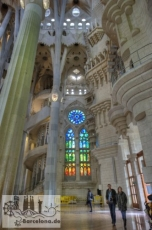 The finished inside the Nativity façade. In the background the spiral staircase to the upper floors