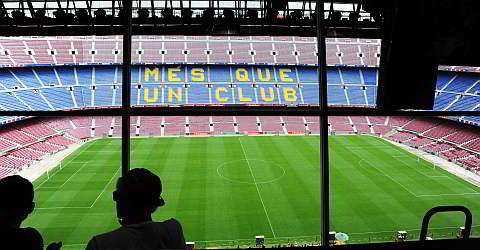 View of the Camp Nou stadium of the reporter cabin
