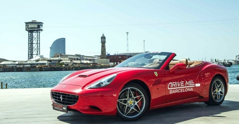 Drive to the harbor with the Ferrari California