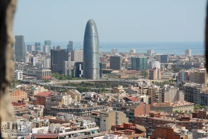 Torre Agbar Tower and Plaça Glòries of the viewing platform