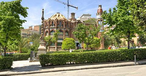 Modernistic pavilions on the grounds of the Hospital de Santa Creu and Sant Pau
