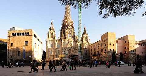 The Cathedral in the Gothic Quarter of Barcelona