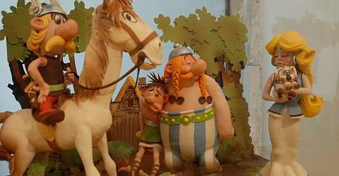 Die Comic-Helden Asterix und Obelix im Schokoladen-Museum
