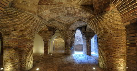 Brick ceiling of the Palau Güell in the basement
