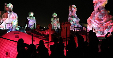 Roof terrace of Casa Milà in the evening with light installations