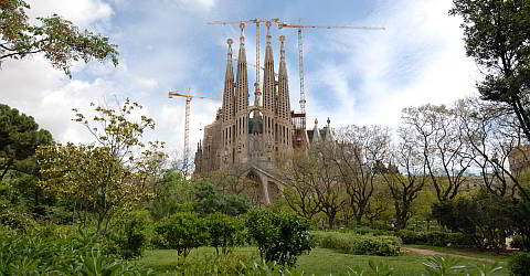 The Sagrada Familia with view on the Passion Facade