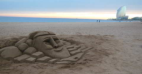 Sand art at the beach of Barcelona